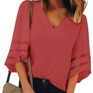 Tops - New Bell Sleeve Rose Color Blouse 2XL